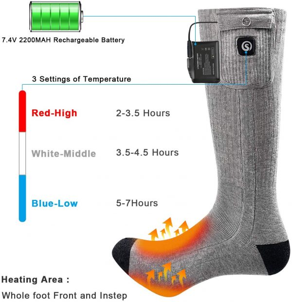 Rechargeable Battery Powered Savior heated Socks Gray
